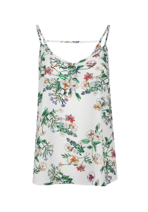 Ladies' Floral Strappy Tank, WHITE, hi-res