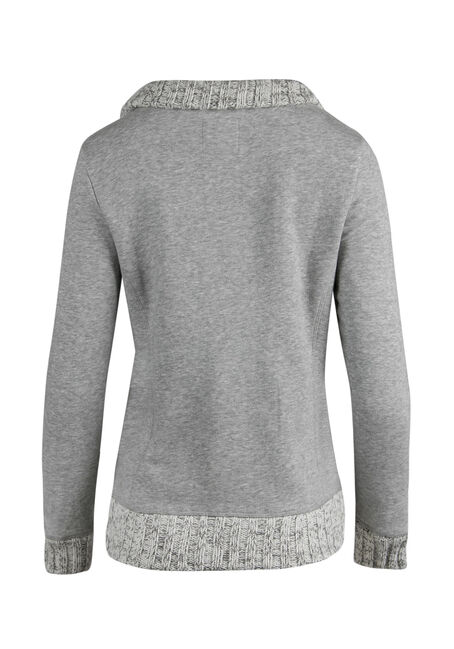 Ladies' Button Front Fleece, HEATHER GREY, hi-res