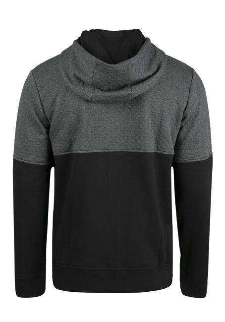 Men's Textured Colour Block Hoodie, CHARCOAL, hi-res