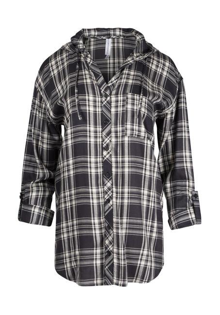 Ladies' Hooded Plaid Shirt