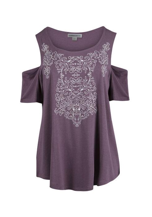 Ladies' Embroidered Cold Shoulder Tee, TULIP, hi-res
