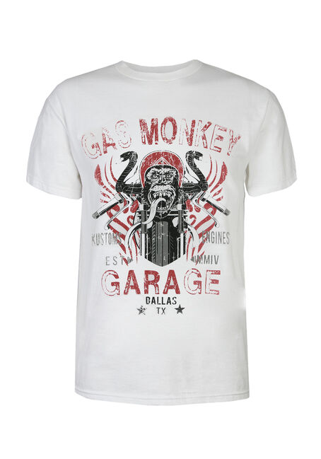 Men's Gas Monkey Garage Tee, WHITE, hi-res