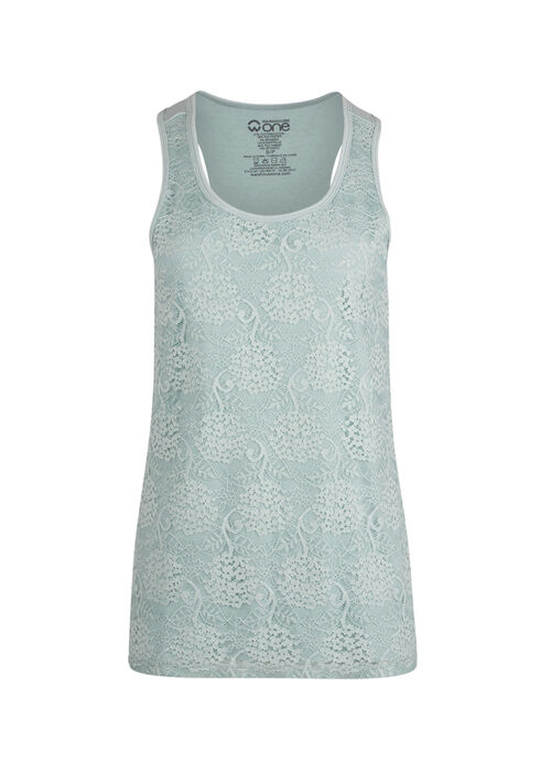 Ladies' Lace Front Tank, MEADOW GREEN, hi-res