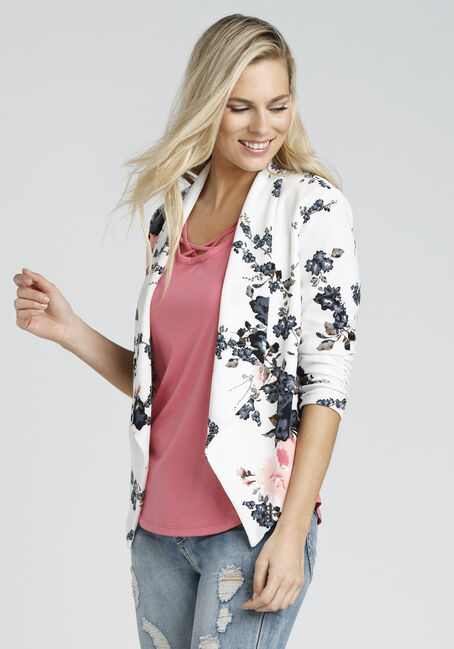 Ladies' Floral Blazer, WHITE, hi-res