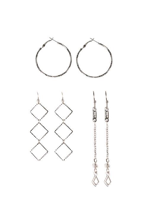 Ladies' Trio Earrings, RHODIUM, hi-res