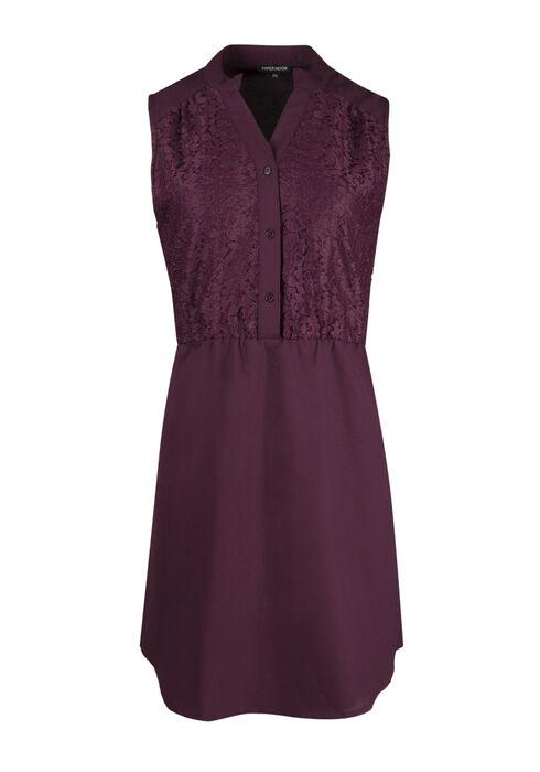 Ladies' Chiffon Shirt Dress, BURGUNDY, hi-res