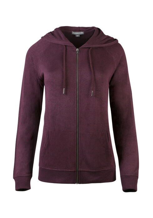 Ladies' Zip Front Hoodie, MULBERRY, hi-res