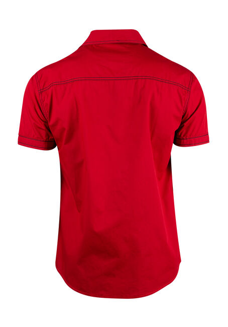 Men's Colour Block Shirt, RED, hi-res