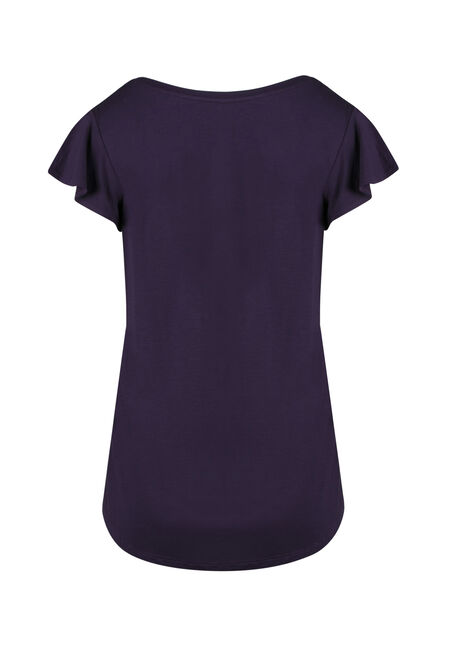 Ladies' Flutter Sleeve Tee, GRAPE, hi-res