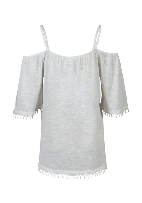 Ladies' Cold Shoulder Top, IVORY, hi-res