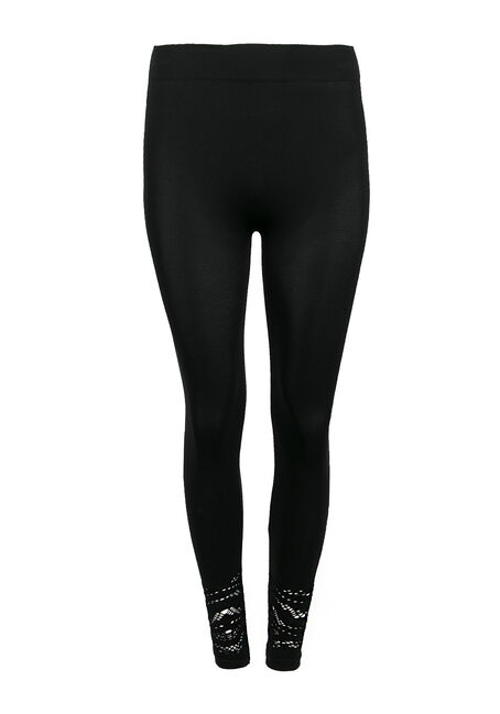 Ladies' Lace Trim Legging, BLACK, hi-res
