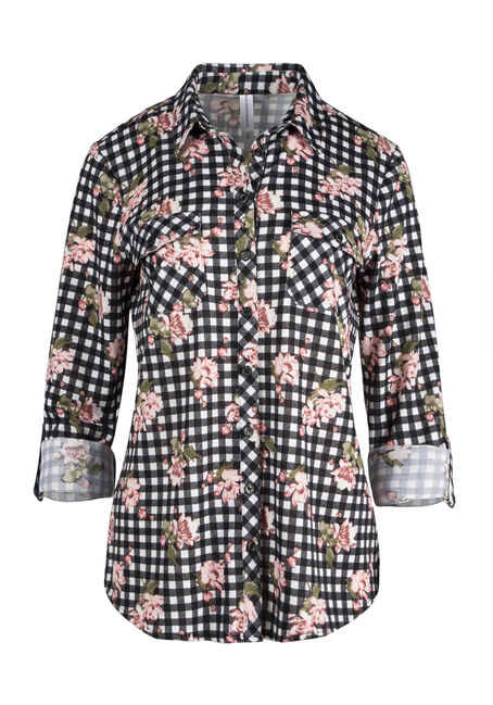 Ladies' Relaxed Fit Knit Floral Shirt