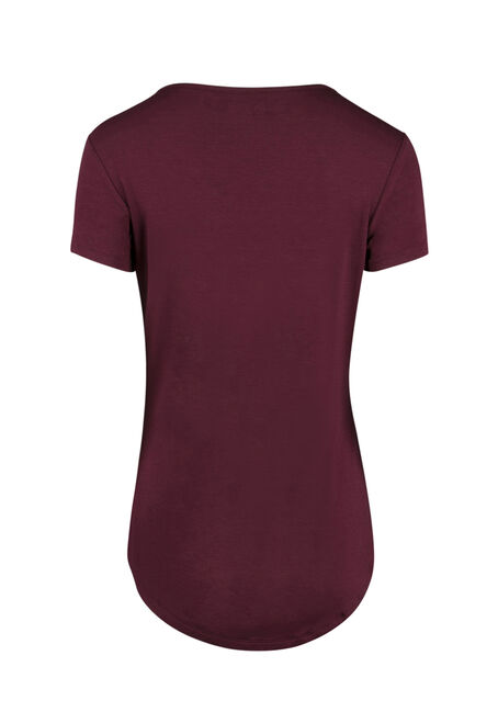 Ladies' Mesh Insert Tee, WINE, hi-res