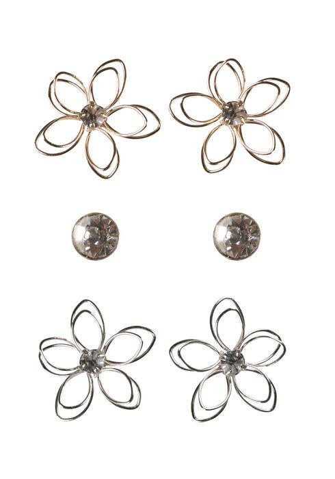 Ladies' Daisy Earring Set, MIXED METALS, hi-res