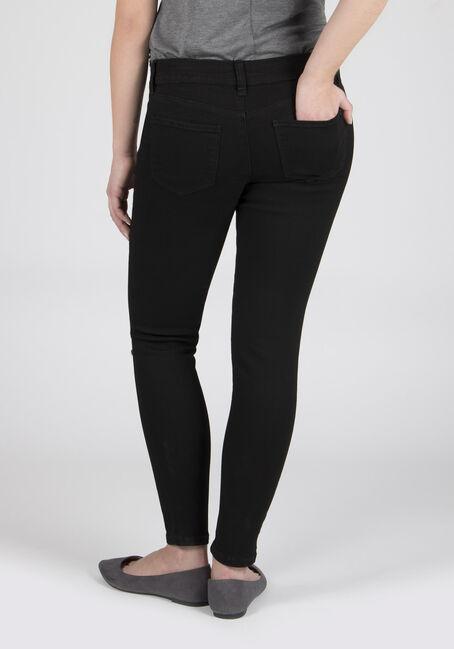 Ladies' Embroidered Skinny Jeans, BLACK, hi-res