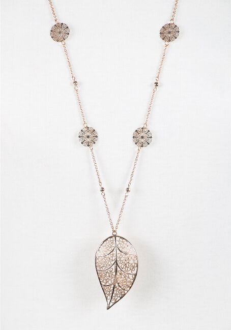 Ladies' Leaf Necklace, GOLD, hi-res