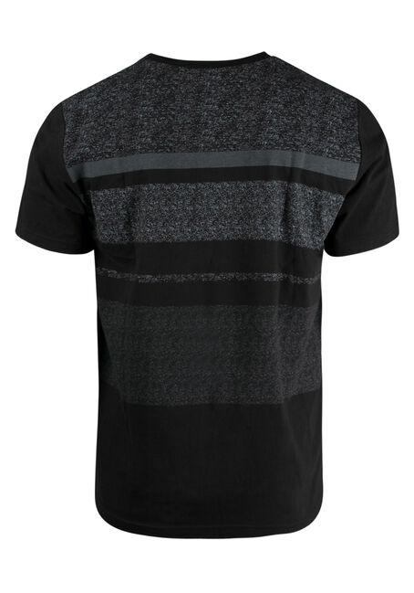 Men's Stripe Henley Tee, BLACK, hi-res