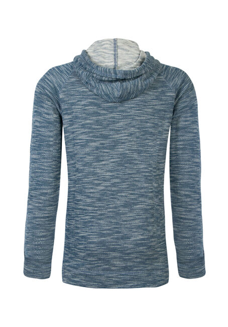 Men's Textured Popover Hoodie, BLUE, hi-res