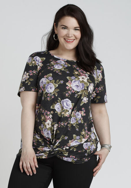 Ladies' Knotted Floral Top, BLACK, hi-res