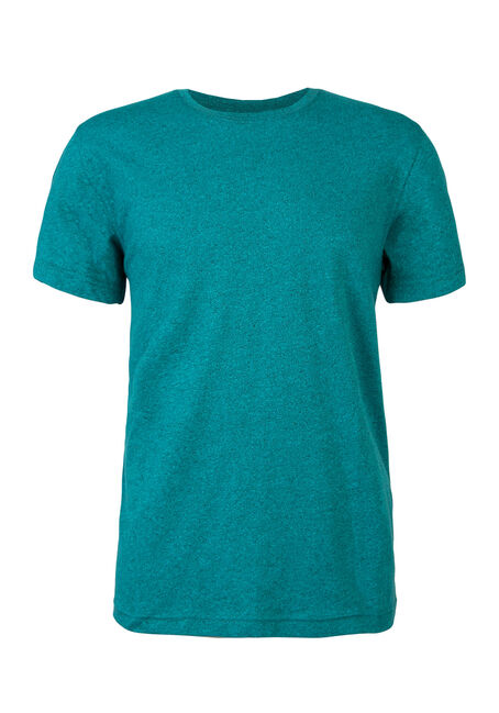 Men's Crew Neck Flecked Tee, AQUA, hi-res