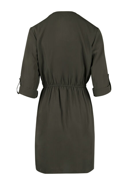 Ladies' Shirt Dress, OLIVE, hi-res