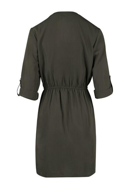 Ladies' Shirt Dress, OLIVE, hi-res