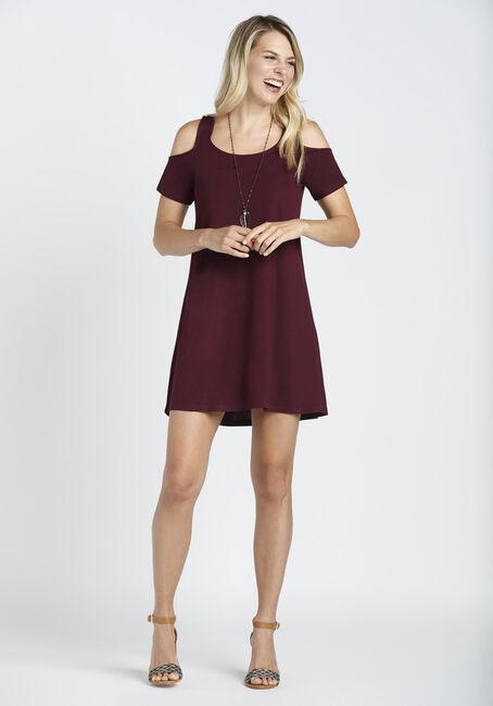 Ladies' Cold Shoulder Dress, BURGUNDY, hi-res