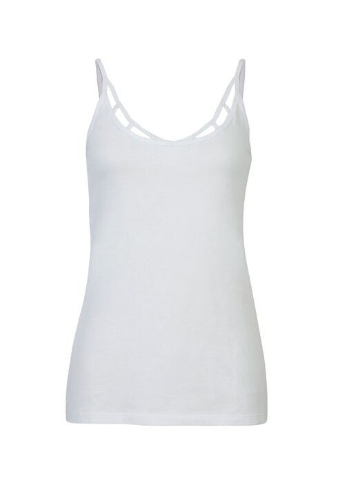 Ladies' Cage Neck Strappy Tank, WHITE, hi-res