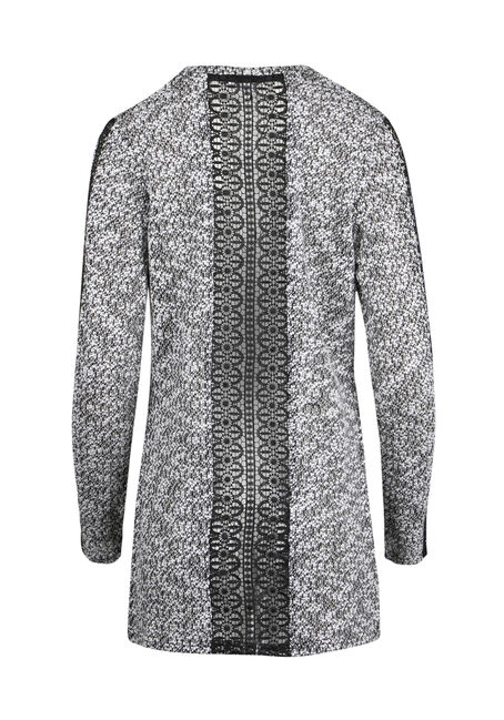 Ladies' Textured Crochet Open Cardigan, BLK/IVORY, hi-res