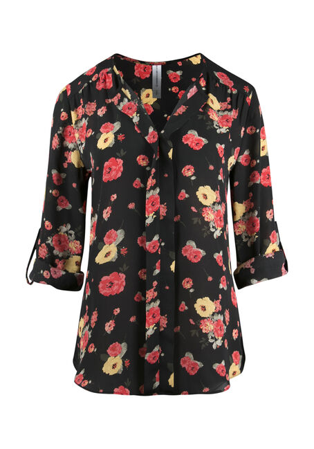 Ladies' Floral Pleat Front Top