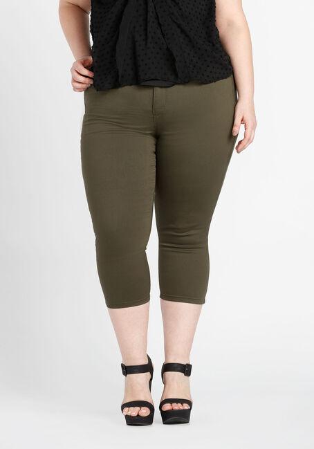 Ladies' Plus Size Skinny Capri, OLIVE, hi-res