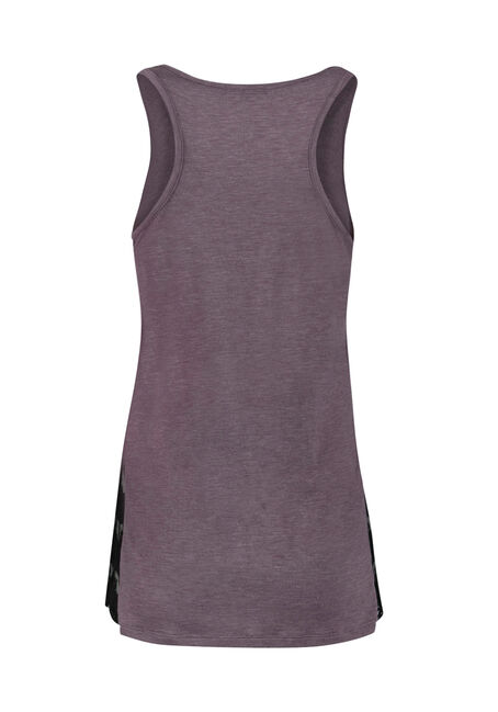 Ladies' Lace Insert Tank, DUSTY PURPLE, hi-res