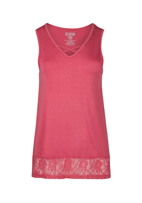 Ladies' Cage Neck Lace Hem Tank
