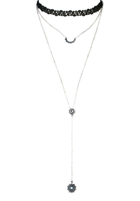 Ladies' Double Necklace Set, RHODIUM, hi-res