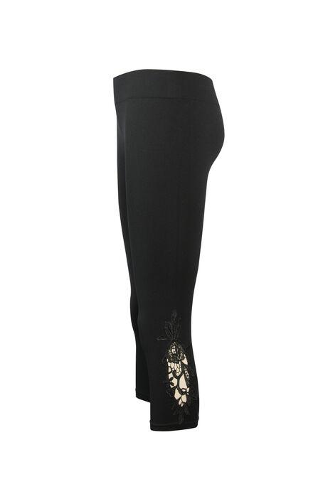 Ladies' Crochet Seamless Capri Legging, BLACK, hi-res