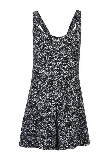 Ladies' Diamond Print Romper, BLK/WHT, hi-res