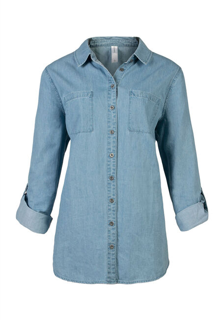 Ladies' Chambray Shirt, LIGHT VINTAGE WASH, hi-res
