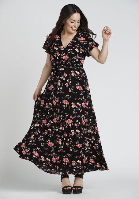 Ladies' Floral Wrap Maxi Dress, BLACK PRINT, hi-res