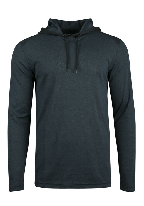 Men's Colour Block Hoodie, TEAL, hi-res