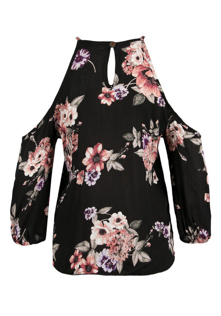 Ladies' Floral Cold Shoulder Top, BLACK, hi-res