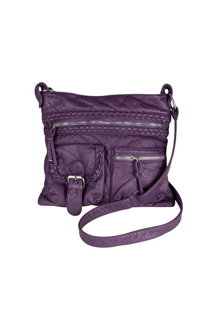 Ladies' Braided Trim Cross Body Bag
