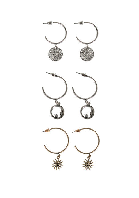 Ladies' Trio Celestial Earring Set, MIXED METALS, hi-res