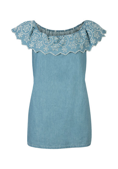 Ladies' Eyelet Chambray Bardot Top