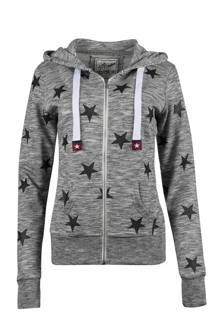 Ladies' Star Print Zip Up Hoodie, M.CHAR/BLK, hi-res
