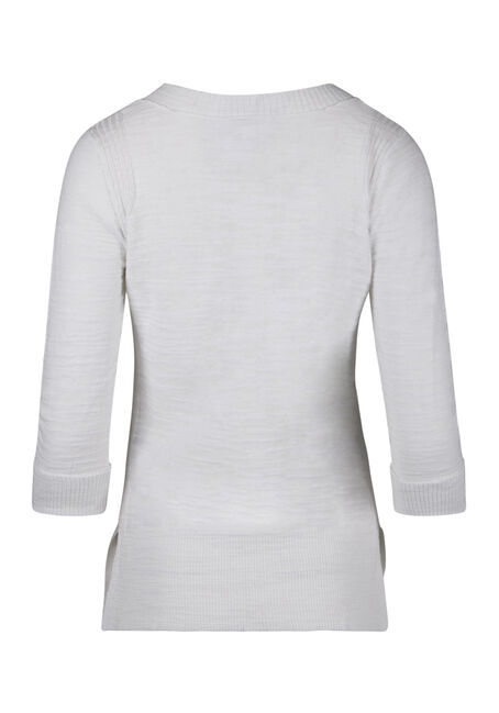Ladies' V-neck Sweater, WHITE, hi-res