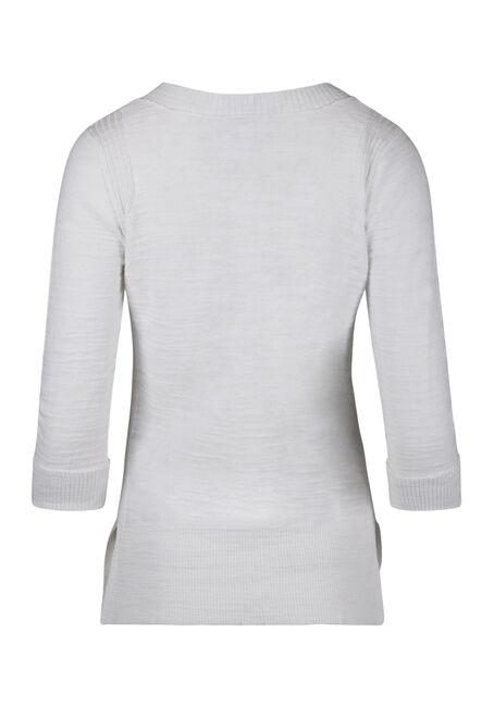 Ladies' V-neck Sweater, WHITE, hi-res