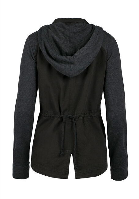 Ladies' Hooded Utility Jacket, BLACK, hi-res