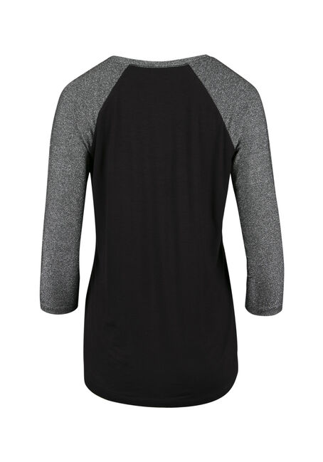 Ladies' Shimmer Baseball Tee, BLACK/ SILVER, hi-res