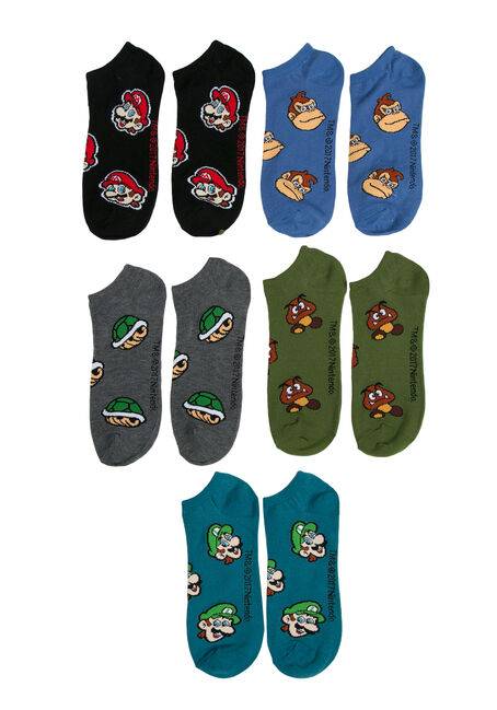 Men's 5 Pair Mario socks, MULTI, hi-res