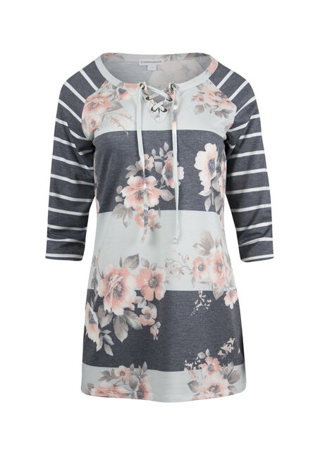 Ladies' Floral Stripe Baseball Top